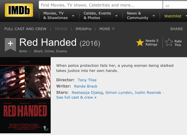 Red Handed short film scripted by RB wins Silver Remi Award in USA