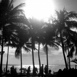 hawaiian sunset in b&w
